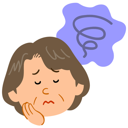 Worried middle-aged woman Anxious melancholy Illustration