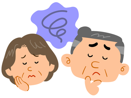 Middle-aged couples worries Anxiety Facial expression Çizim
