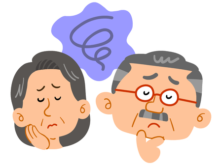Middle-aged couple's worries Anxiety Facial expression Standard-Bild - 127330002
