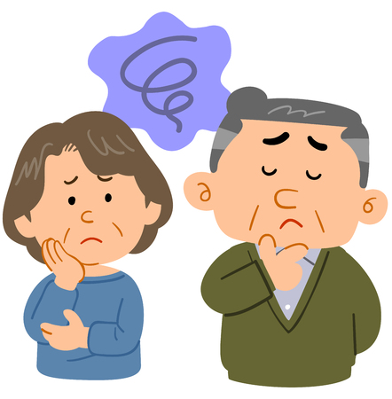 Middle-aged couples worries Anxiety upper body Çizim