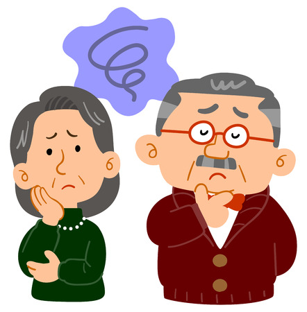 Middle-aged couple's worries Anxiety upper body  イラスト・ベクター素材