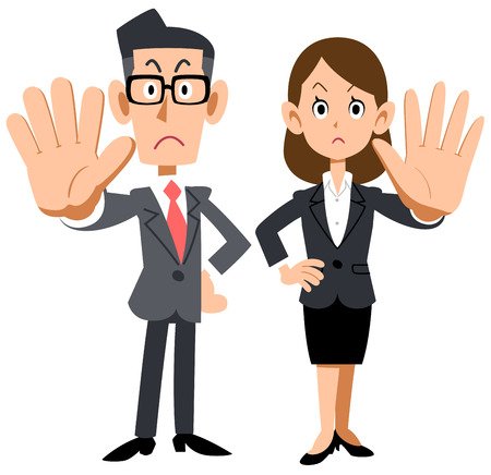 A man and a woman of an office worker who poses a refusal