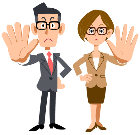 Male and female office workers wearing glasses to pose refusal