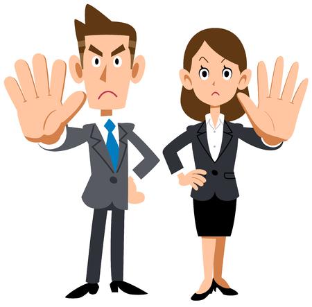 Een jonge kantoormedewerker die een weigering opwerpt