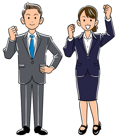 Young office worker male and female