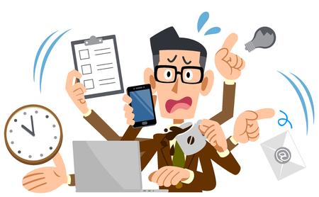 multitasking Businessman Stock Illustratie