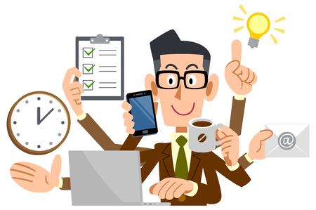 multitasking Businessman Illusztráció