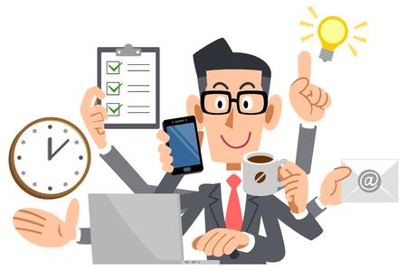multitasking Businessman Illustration