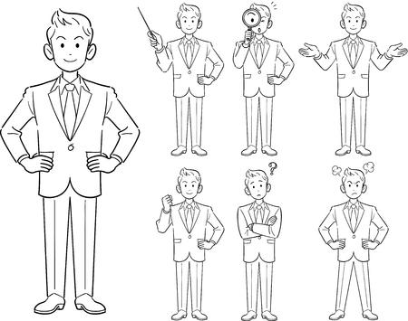 Young businessmans pose Illustration