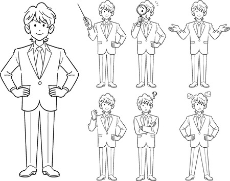 Young businessmans pose Illustration