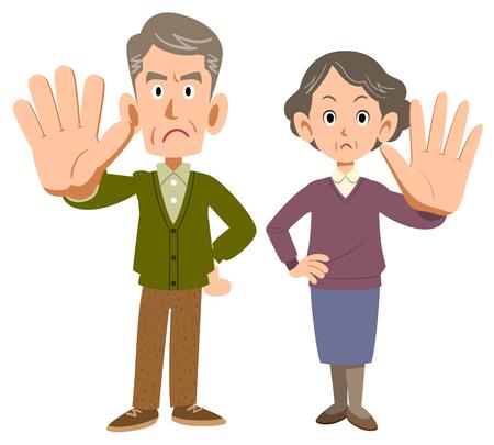 Senior men and women refusing something