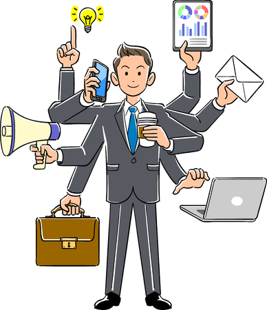 multitasking Businessman Illustration