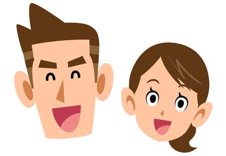 A couple with a smiling face Ilustração