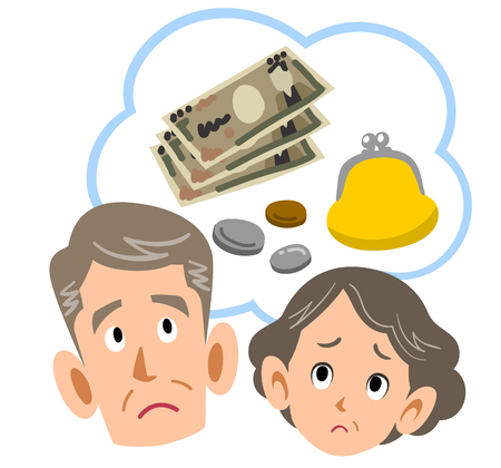 Senior couple worrying from money Ilustracja