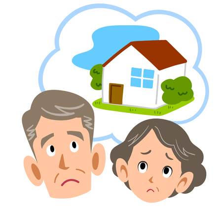 Senior couple worrying about home Stock Illustratie