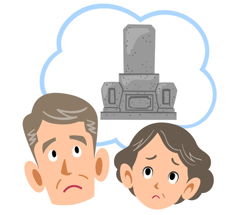 Senior couple thinking about grave 写真素材 - 113678241