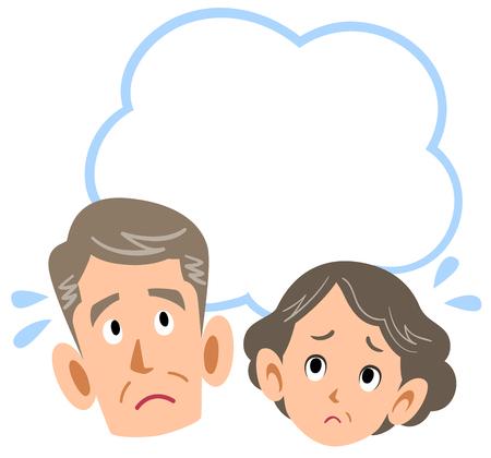 Senior couple worrying Illustration