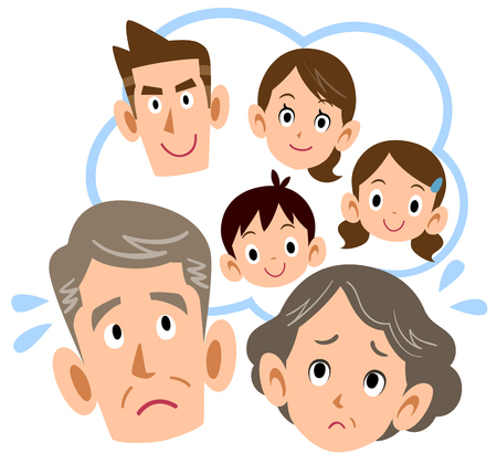 Senior couple thinking about family
