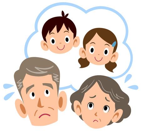 Senior couple worrying about grandchildren Illustration