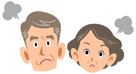 Angry senior couple Stock Illustratie