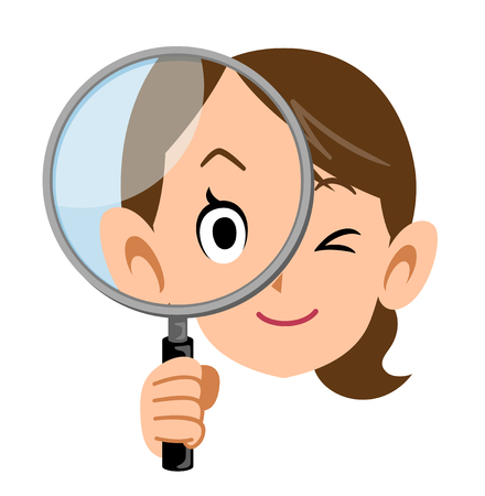 housewife   holding a magnifying glass