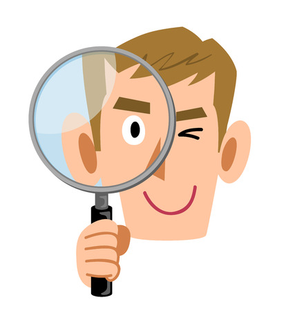 Male businessman holding a magnifying glass