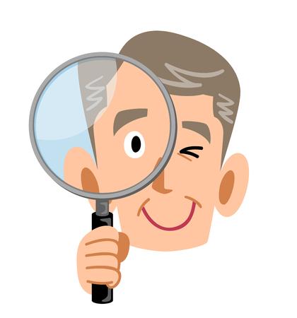 Senior men holding a magnifying glass Ilustração