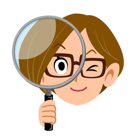 Woman holding a magnifying glass Ilustração