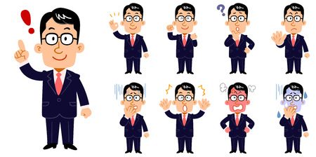 businessmen wearing glasses Set of poses and facial expressions