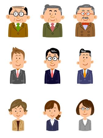 Set of people working at the office Various ages, gender Ilustração