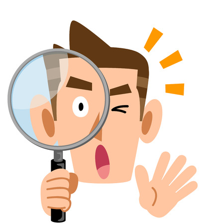 A surprising man looking into the magnifying glass