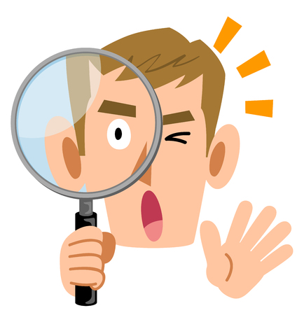 A surprising male  looking into the magnifying glass