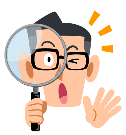 Men  looking into the magnifying glass Illustration