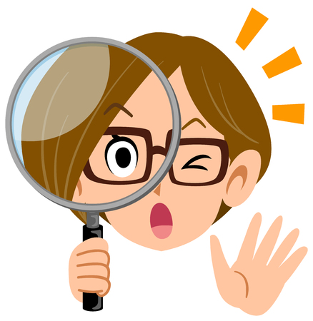 A woman career woman surprised at peeping through the magnifying glass