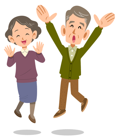 Senior couple jumping Illustration