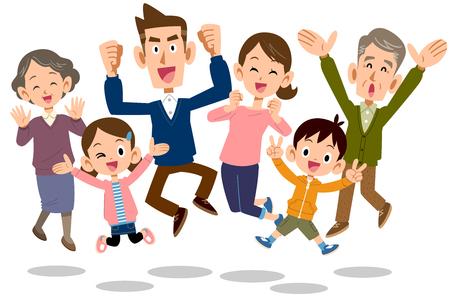 familia saltando Ilustración de vector
