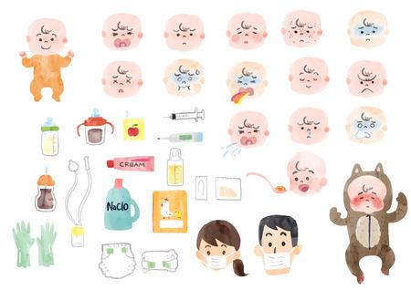 Illustratie van een zieke baby en babyspullen