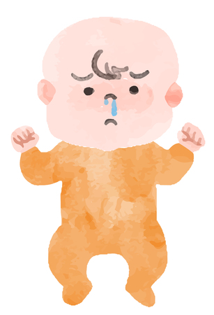A baby with a runny nose  イラスト・ベクター素材