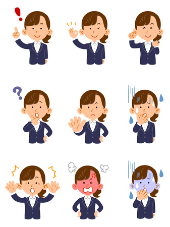 A woman wearing a suit Set of nine poses and facial expressions