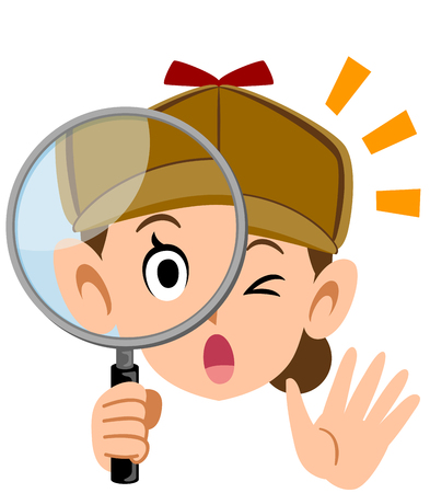 Detective face of a woman looking through the magnifying glass Facial expression and gesture