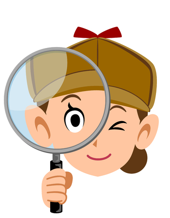 Detective face of a woman looking into the magnifying glass