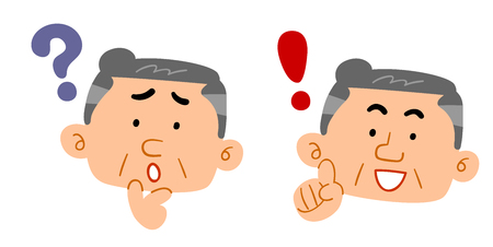 A set of male doubts and answers for mature people Ilustrace
