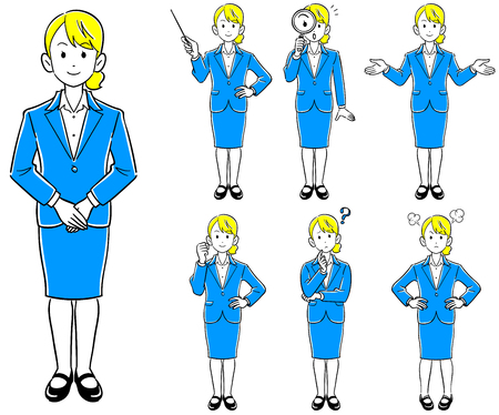 Business woman 's poses 7 kinds of new employment job hunting Stock Illustratie