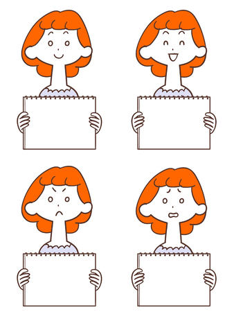 Young lady with whiteboard Orange hair