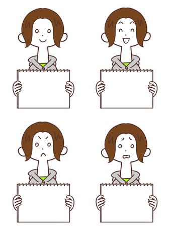 A young woman with a whiteboard Hoodie Short Bob Ilustração
