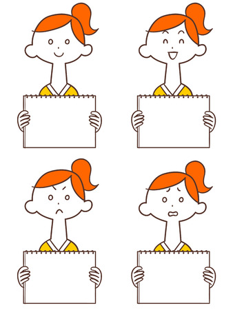 Young lady with whiteboard Ponytail Ilustração