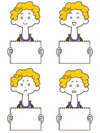 A young woman with a whiteboard perm Illustration