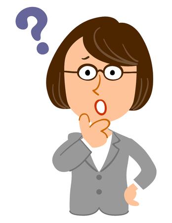 Thinking female glasses business professor