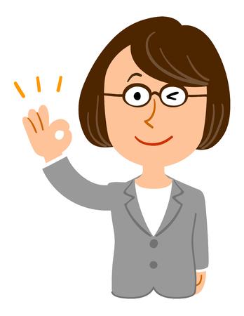 Approving female eyeglasses business professor