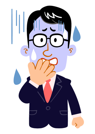 The complexion of serious businessmen who wear glasses turns blue